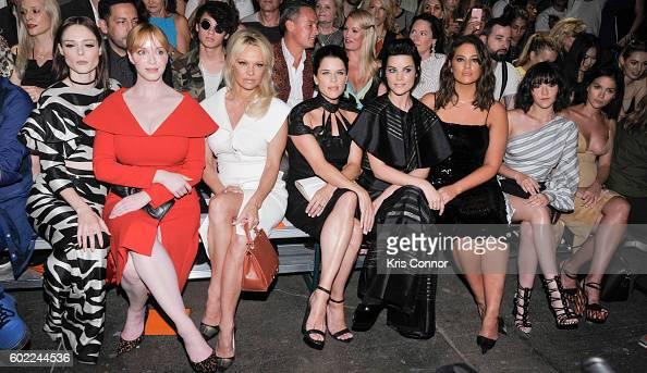 Coco Rocha Christina Hendricks Pamela Anderson Neve Campbell Jaimie Alexander and Leigh Lezark attend the Christian Siriano Fashion show during new...