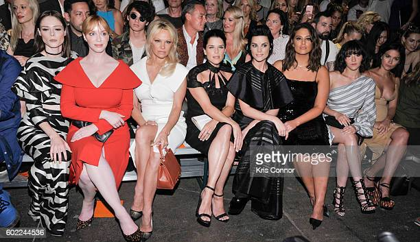 Coco Rocha Christina Hendricks Pamela Anderson Neve Campbell Jaimie Alexander and Leigh Lezark attend the Christian Siriano Fashion show during new...