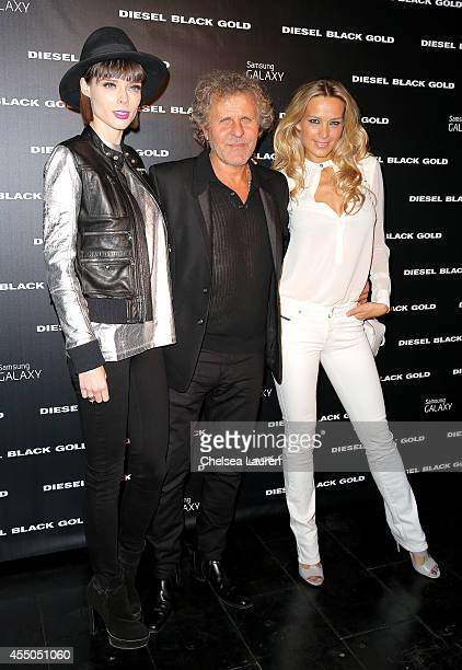 Coco Rocha Renzo Rosso and Petra Nemcova pose backstage at the Diesel Black Gold fashion show during MercedesBenz Fashion Week Spring 2015 at...