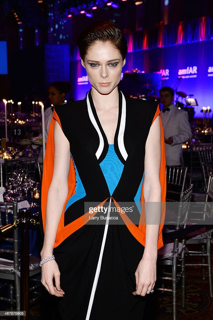 Coco Rocha wearing Bulgari attends the 2014 amfAR New York Gala at Cipriani Wall Street on February 5 2014 in New York City