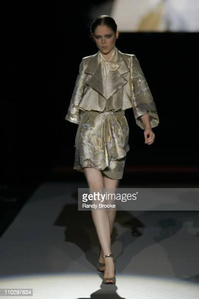 Coco Rocha wearing Zac Posen Spring 2007 during Olympus Fashion Week Spring 2007 Zac Posen Runway at The Tent Bryant Park in New York City New York...
