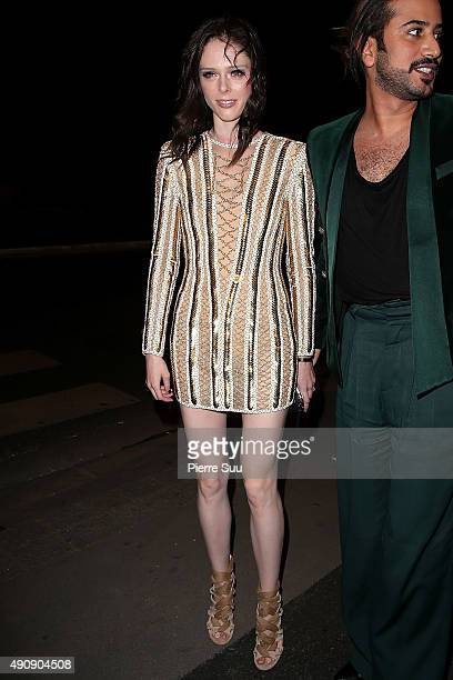 Coco Rochas arrives at the Balmain After Show Party at 'Laperouse' restaurant as part of the Paris Fashion Week Womenswear Spring/Summer 2016 on...