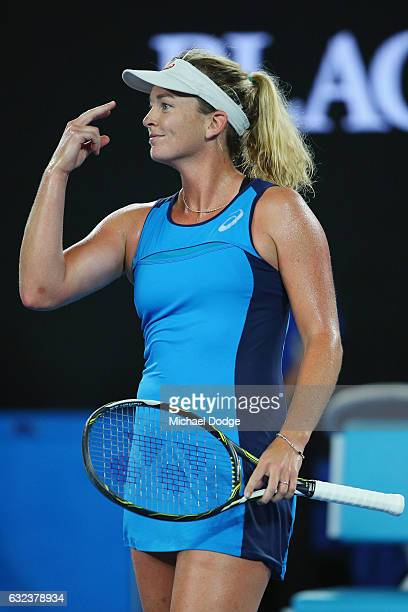 Coco Vanderweghe of the USA celebrates winning in her fourth round match against Angelique Kerber of Germany on day seven of the 2017 Australian Open...
