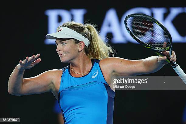 Coco Vanderweghe of the USA gestures as she celebrates winning in her fourth round match against Angelique Kerber of Germany on day seven of the 2017...