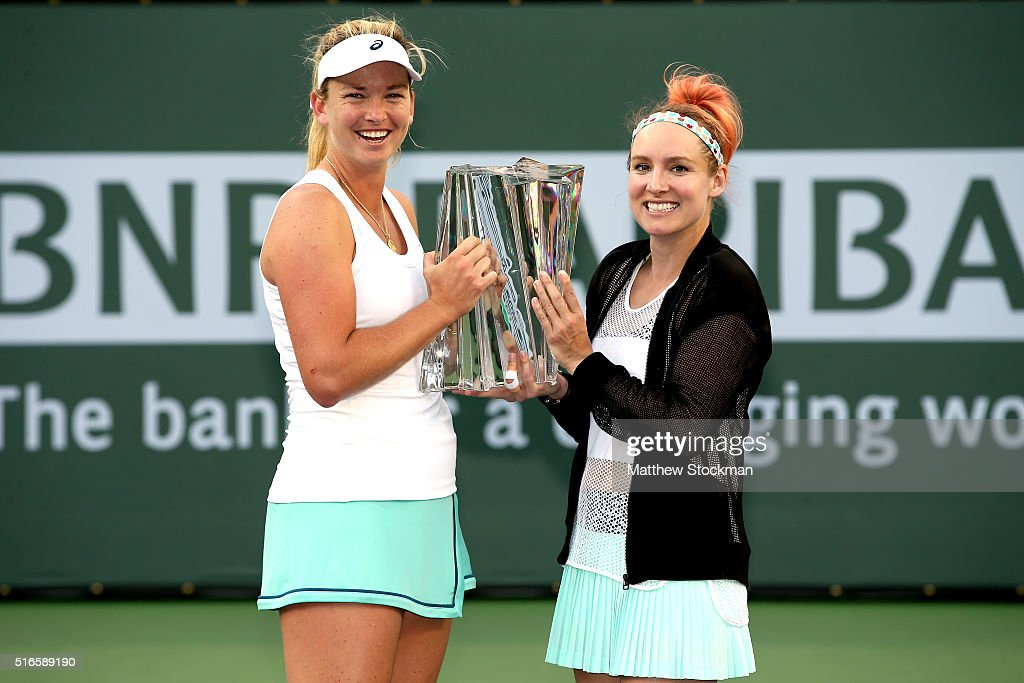 CoCo Vandeweghe and <a gi-track='captionPersonalityLinkClicked' href=/galleries/search?phrase=Bethanie+Mattek-Sands&family=editorial&specificpeople=7481266 ng-click='$event.stopPropagation()'>Bethanie Mattek-Sands</a> pose with the winner's tropy after defeating Julia Goerges of Germany and Karolina Pliskova of Czech Republic during the doubles final of the BNP Paribas Open at the Indian Wells Tennis Garden on March 19, 2016 in Indian Wells, California.