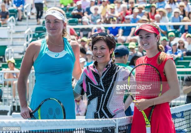 CoCo Vandeweghe and Catherine Bellis pose at the net after the coin toss during a WTA singles semifinal round at the Bank of the West Classic at the...