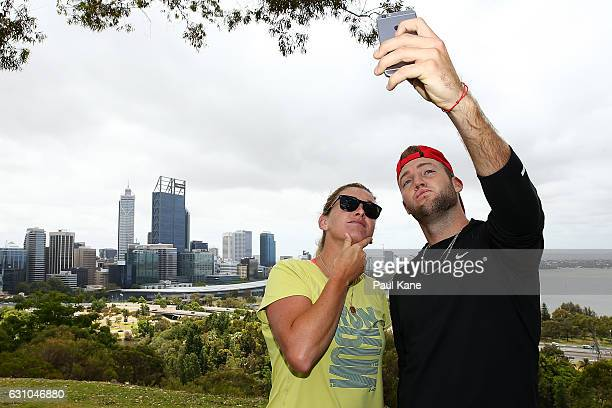 Coco Vandeweghe and Jack Sock of the United States pose for a selfie at Kings Park during day six of the 2017 Hopman Cup at Perth Arena on January 6...