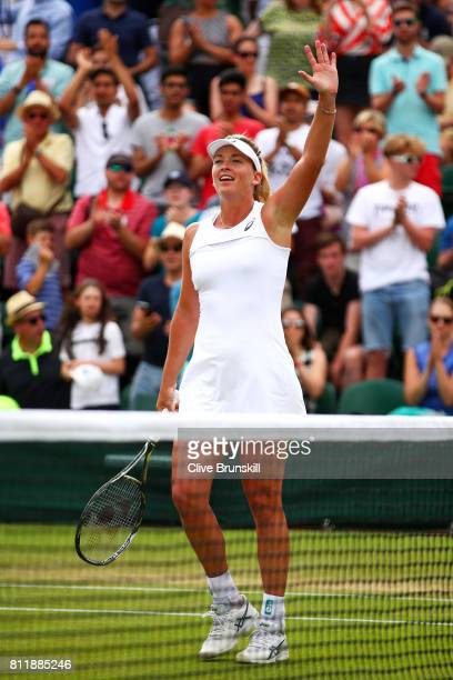 Coco Vandeweghe of The United States acknowledges the crowd as she celebrates victory after the Ladies Singles fourth round match against Caroline...