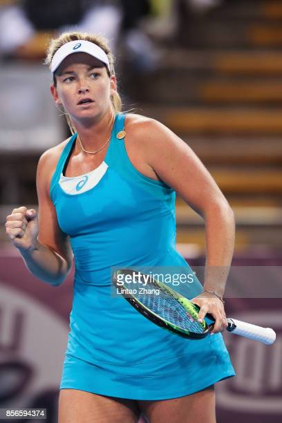 CoCo Vandeweghe of the United States celebrates a point during against Donna Vekic of Croatia during the women's singles first round on day three of...