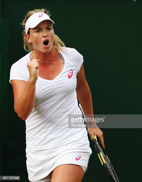 Coco Vandeweghe of the United States celebrates during her Ladies' Singles first round match against Garbine Muguruza of Spain on day one of the...