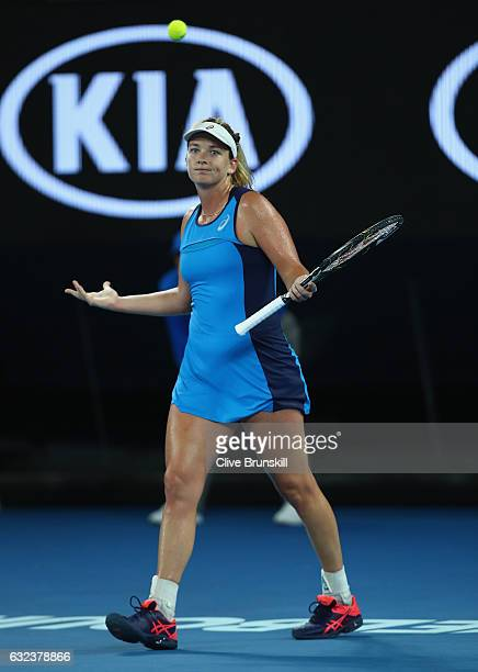 Coco Vandeweghe of the United States celebrates match point in her fourth round match against Angelique Kerber of Germany on day seven of the 2017...