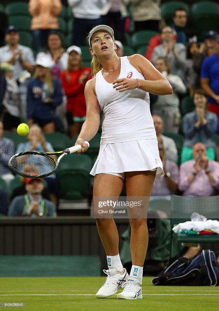 <a gi-track='captionPersonalityLinkClicked' href=/galleries/search?phrase=Coco+Vandeweghe&family=editorial&specificpeople=4957122 ng-click='$event.stopPropagation()'>Coco Vandeweghe</a> of the United States celebrates victory during the Ladies Singles first round match against Kateryna Bondarenko of Ukraine on day two of the Wimbledon Lawn Tennis Championships at the All England Lawn Tennis and Croquet Club on June 28, 2016 in London, England.