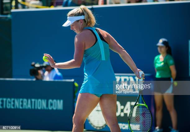 CoCo Vandeweghe of the United States gets set to serve during the WTA Tour Bank of the West Classic final match at Taube Family Tennis Center in...