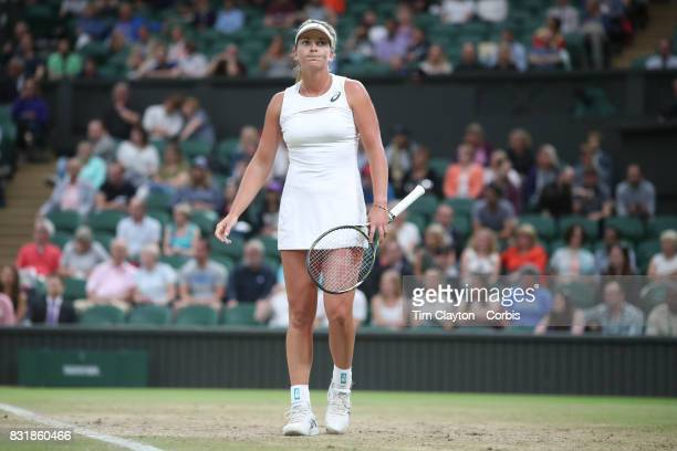 Coco Vandeweghe of the United States in action against Magdalena Rybarikova of Slovakia in the Ladies' Singles Quarter Final match on Center Court...
