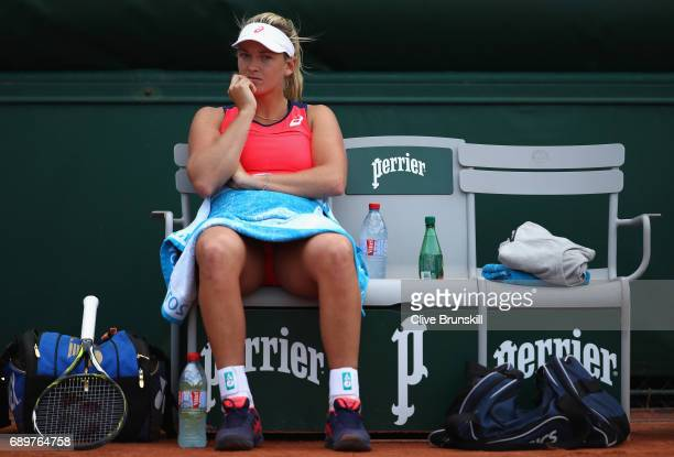 Coco Vandeweghe of The United States looks on during the ladies singles first round match against Magdalens Rybarikova of Slovakia on day two of the...