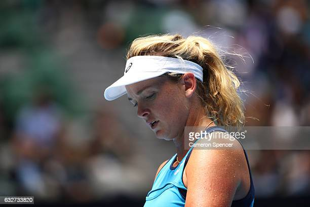 CoCo Vandeweghe of the United States looks on in her semifinal match against Venus Williams of the United States on day 11 of the 2017 Australian...
