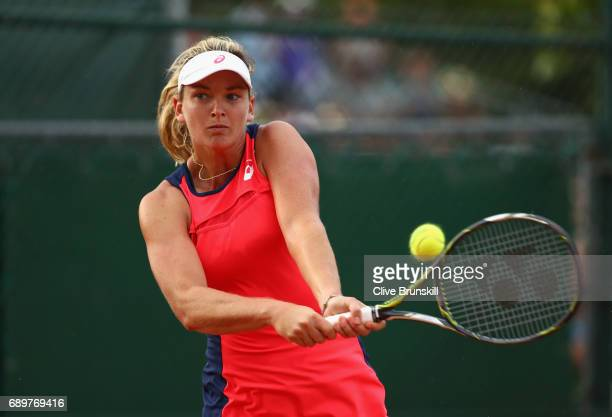 Coco Vandeweghe of The United States plays a bachand during the ladies singles first round match against Magdalens Rybarikova of Slovakia on day two...