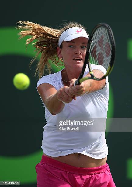Coco Vandeweghe of the United States plays a backhand against Serena Williams of the United States during their fourth round match during day 8 at...