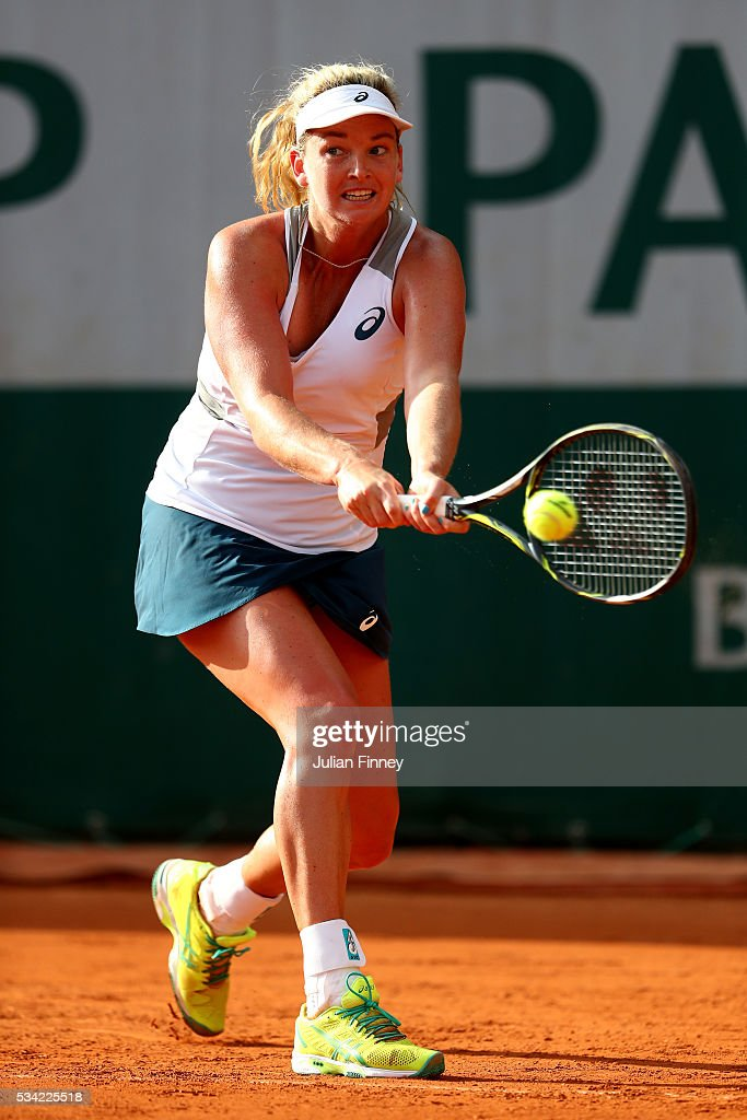 <a gi-track='captionPersonalityLinkClicked' href=/galleries/search?phrase=Coco+Vandeweghe&family=editorial&specificpeople=4957122 ng-click='$event.stopPropagation()'>Coco Vandeweghe</a> of the United States plays a backhand during the Women's Singles second round match against Irina-Camelia Begu of Romania on day four of the 2016 French Open at Roland Garros on May 25, 2016 in Paris, France.