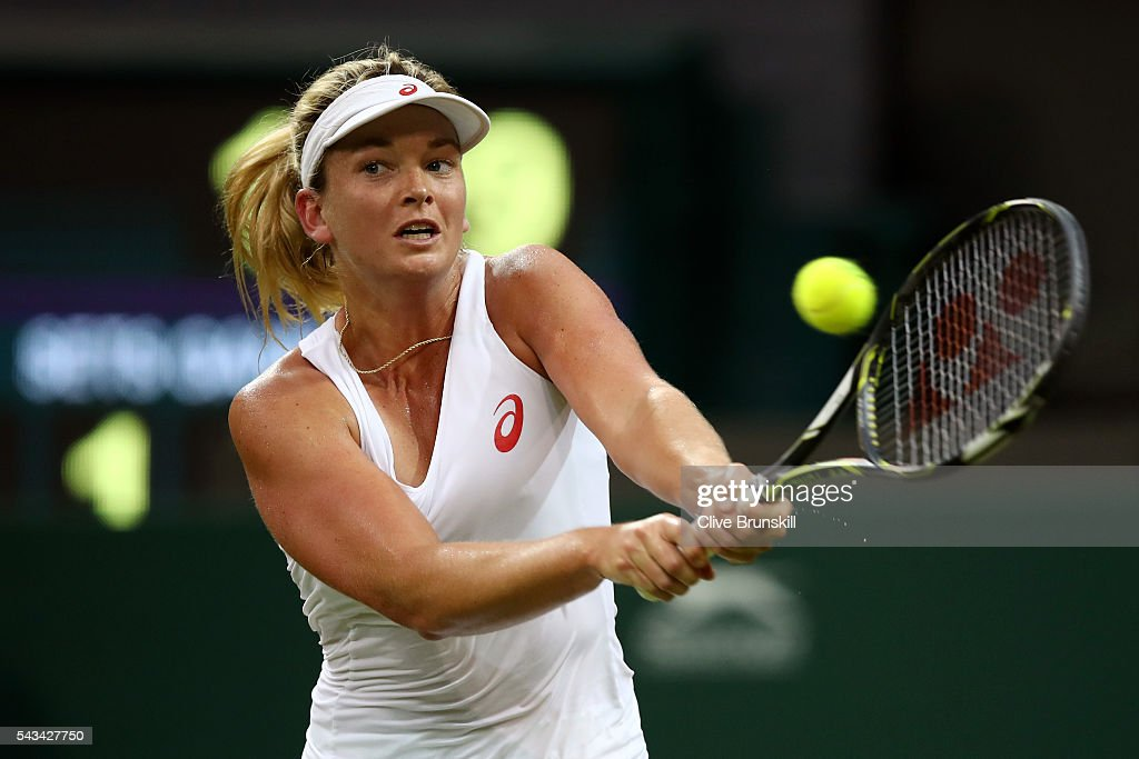 Coco Vandeweghe of the United States plays a backhand during the Ladies Singles first round match against Kateryna Bondarenko of Ukraine on day two of the Wimbledon Lawn Tennis Championships at the All England Lawn Tennis and Croquet Club on June 28, 2016 in London, England.