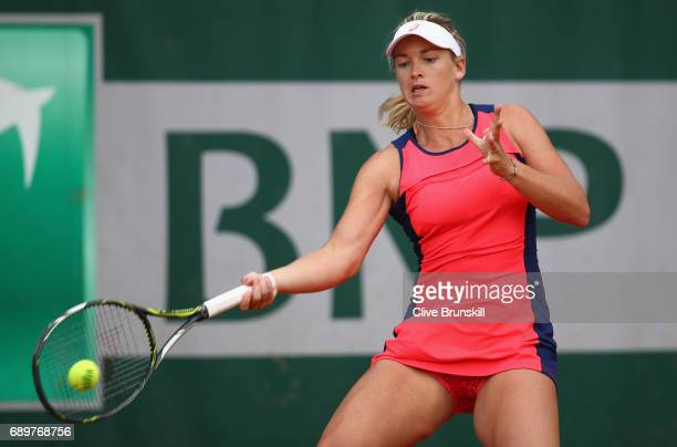 Coco Vandeweghe of The United States plays a forehand during the ladies singles first round match against Magdalens Rybarikova of Slovakia on day two...