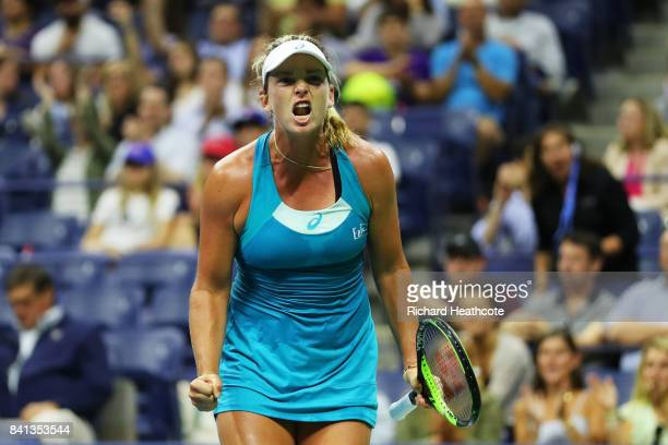 CoCo Vandeweghe of the United States reacts against Ons Jabeur of Tunisia during their second round Women's Singles match on Day Four of the 2017 US...