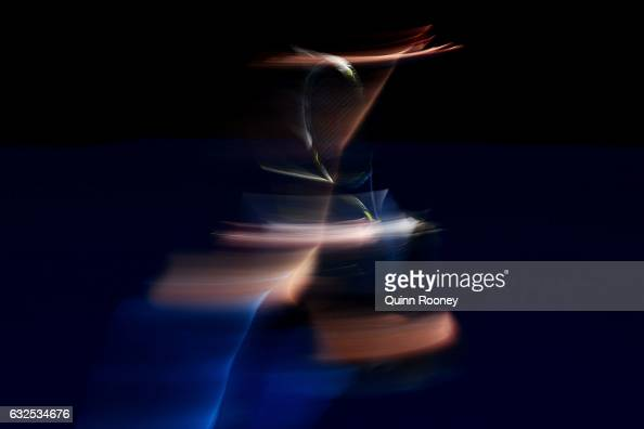 CoCo Vandeweghe of the United States serves in her quarterfinal match against Garbine Muguruza of Spain on day nine of the 2017 Australian Open at...