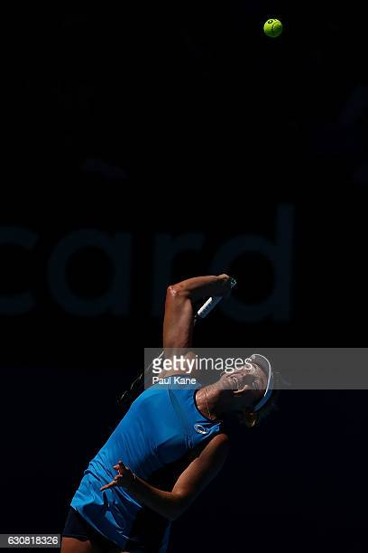 Coco Vandeweghe of the United States serves to Lara Arruabarrena of Spain during the women's singles match on day three of the 2017 Hopman Cup at...