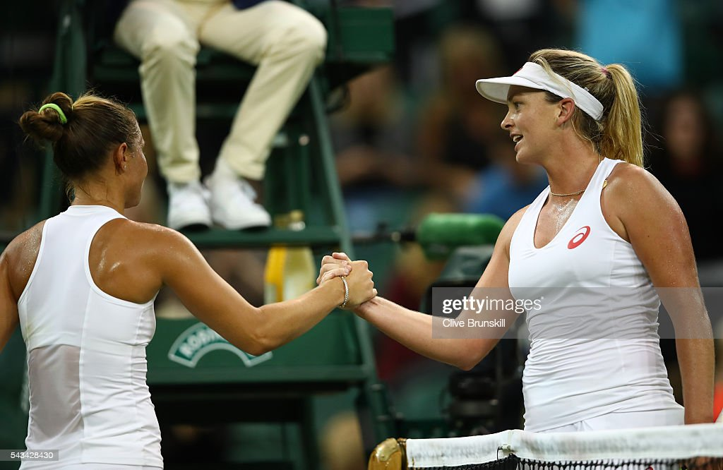 Coco Vandeweghe (L) of the United States shakes hands with Kateryna Bondarenko of Ukraine following her victory during the Ladies Singles first round match on day two of the Wimbledon Lawn Tennis Championships at the All England Lawn Tennis and Croquet Club on June 28, 2016 in London, England.