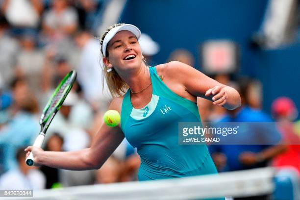 CoCo Vandeweghe of the US celebrates after defeating Lucie Safarova of the Czech Republic during their 2017 US Open Women's Singles Round 4 match at...