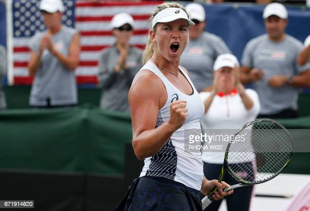 Coco Vandeweghe of the USA celebrates her win against Katerina Siniakova of Czech Republc during their semifinals Fed Cup match match in Tampa...