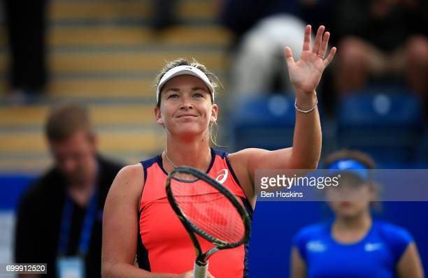 Coco Vandeweghe of The USA celebrates winning the second round match against Johanna Konta of Great Britain on day four of The Aegon Classic...