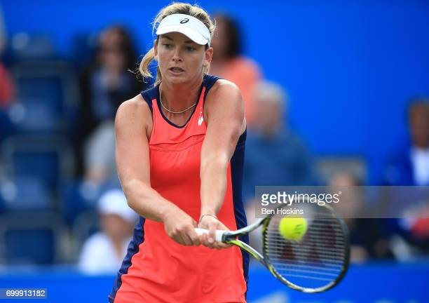 Coco Vandeweghe of The USA hits a backhand during the second round match against Johanna Konta of Great Britain on day four of The Aegon Classic...