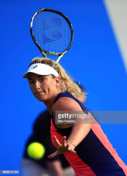 Coco Vandeweghe of The USA hits a forehand during the second round match against Johanna Konta of Great Britain on day four of The Aegon Classic...