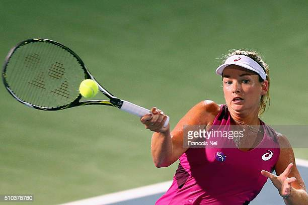 Coco Vandeweghe of the USA in action against Karolina Pliskova of Czech Republic during day one of the WTA Dubai Duty Free Tennis Championship at the...