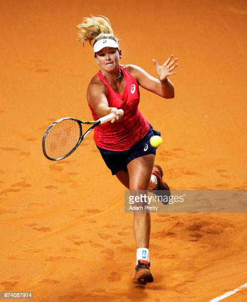 Coco Vandeweghe of the USA plays a backhand during her match against Karolina Pliskova of the Czech Republic during the Porsche Tennis Grand Prix at...