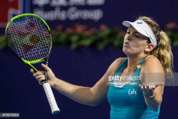 Coco Vandeweghe of United States gestures during the singles semi final match of the WTA Elite Trophy Zhuhai 2017 against Ashleigh Barty of Australia...