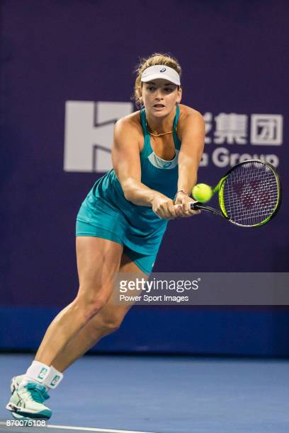 Coco Vandeweghe of United States hits a return during the singles semi final match of the WTA Elite Trophy Zhuhai 2017 against Ashleigh Barty of...