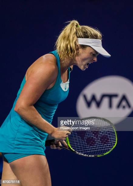 Coco Vandeweghe of United States reacts during the singles semi final match of the WTA Elite Trophy Zhuhai 2017 against Ashleigh Barty of Australia...