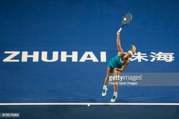 Coco Vandeweghe of United States serves during the singles semi final match of the WTA Elite Trophy Zhuhai 2017 against Ashleigh Barty of Australia...