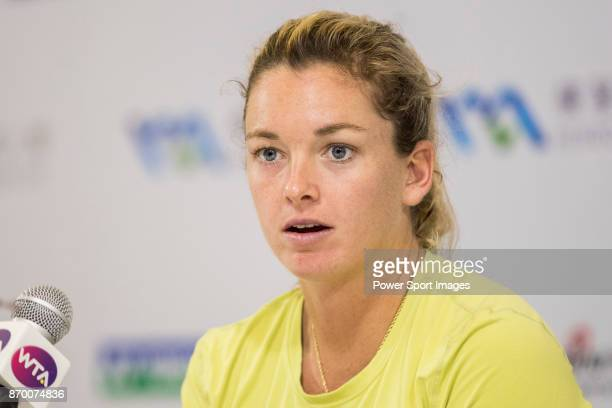 Coco Vandeweghe of United States talks to media during post match press conference after winning the singles semi final match of the WTA Elite Trophy...