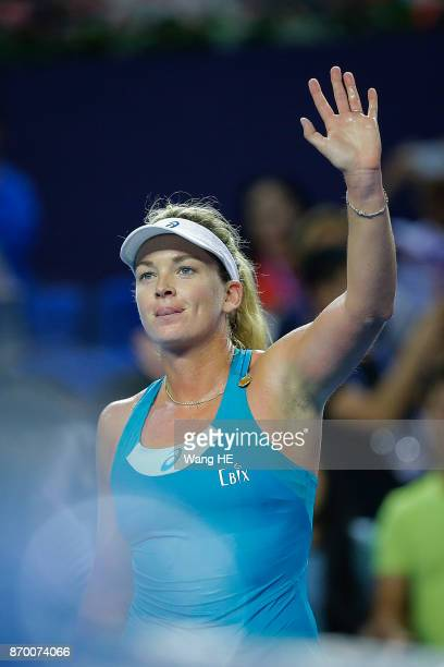 Coco Vandeweghe of USA Celebrates wins the Semifinal match against Ashlei Barty of Australia during the WTA Elite Trophy Zhuhai 2017 at Hengqin...