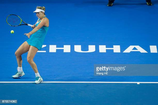 Coco Vandeweghe of USA hits a return in her Semifinal match against Ashlei Barty of Australia during the WTA Elite Trophy Zhuhai 2017 at Hengqin...