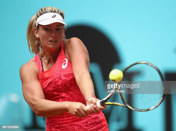 Coco Vandeweghe of USA in action against Carla Suarez Navarro of Spain during day five of the Mutua Madrid Open tennis at La Caja Magica on May 10...