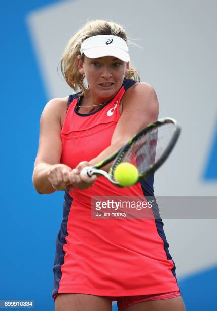 Coco Vandeweghe of USA in action against Johanna Konta of Great Britain during day four of the Aegon Classic at Edgbaston Priory Club on June 22 2017...