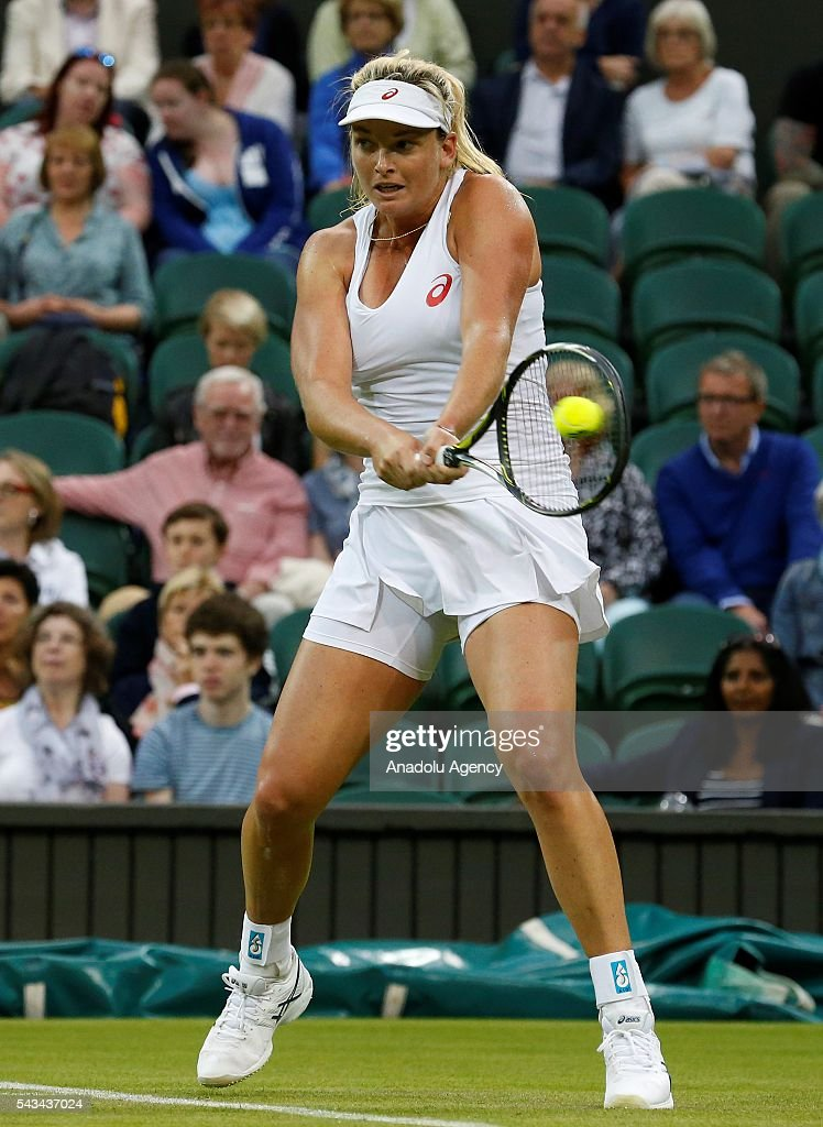 Coco Vandeweghe of USA in action against Kateryna Bondarenko (not seen) of Ukraine during the Women's Singles on day two of the 2016 Wimbledon Championships at the All England Lawn and Croquet Club in London, United Kingdom on June 28, 2016.