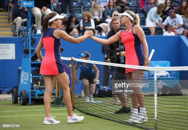 Coco Vandeweghe of USA is congratulated by Johanna Konta of Great Britain after her win during day four of the Aegon Classic at Edgbaston Priory Club...