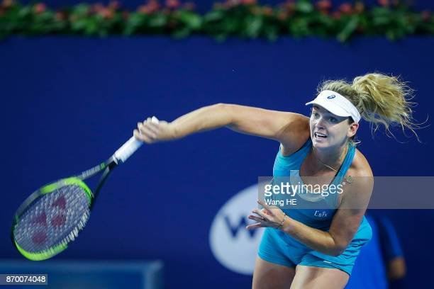 Coco Vandeweghe of USA serves in her Semifinal match against Ashlei Barty of Australia during the WTA Elite Trophy Zhuhai 2017 at Hengqin Tennis...