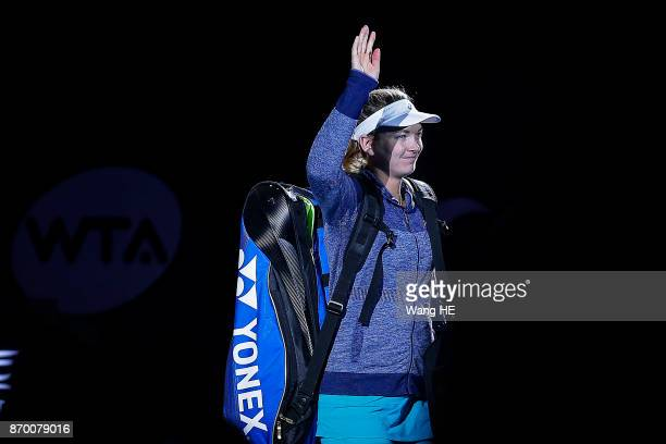 Coco Vandeweghe of USA walks to the court prior to match of the WTA Elite Trophy Zhuhai 2017 against Ashlei Barty of Australia at Hengqin Tennis...