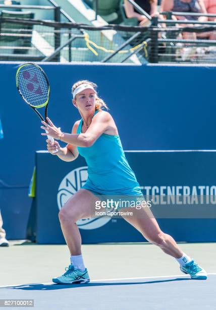 CoCo Vandeweghe sets up a forehand during a WTA singles semifinal round at the Bank of the West Classic at the Taube Family Tennis Stadium in...
